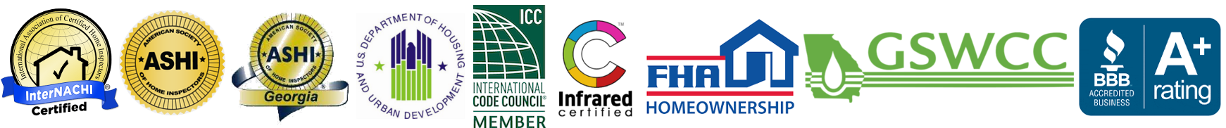 Home inspections North Georgia - certification badges